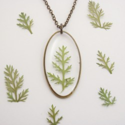 Pressed Achillea Oval Necklace