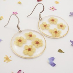 White Blossoms Round Earrings