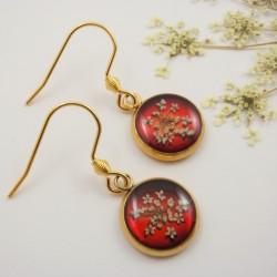 Queen Anne's Lace Earrings Red