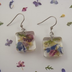 Mixed Flowers Cube Earrings